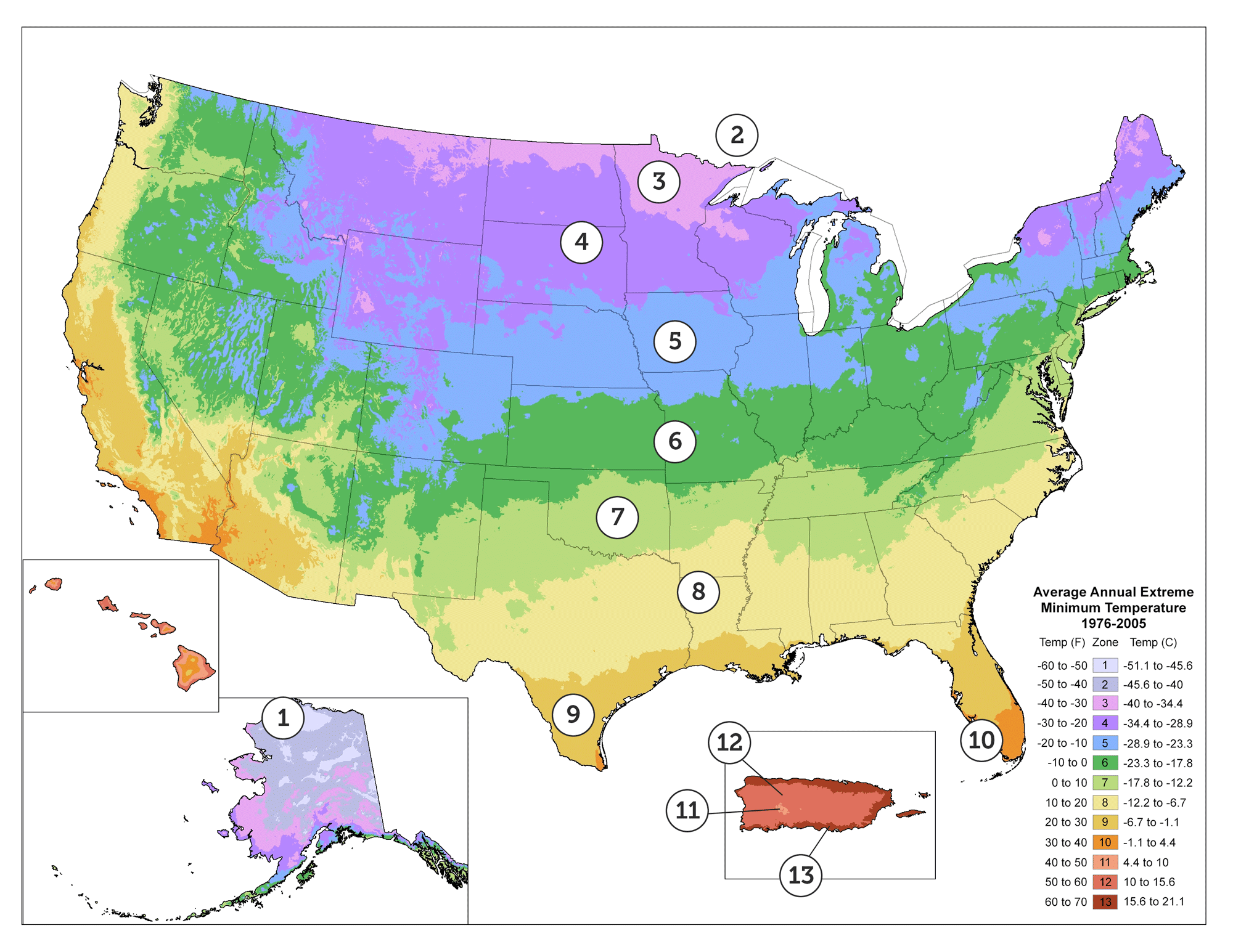 The Map Is Based On The Average Annual Minimum Winter Temperature Divided Into 10 Degree F Zones